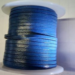 Lacet de cuir plat 3 mm bleu