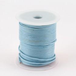 Lacet cuir rond 2 mm bleu