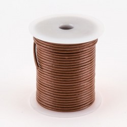 Lacet cuir buffle rond 2 mm marron