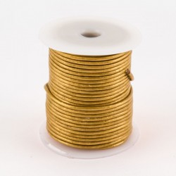 Lacet cuir buffle rond 2 mm couleur or