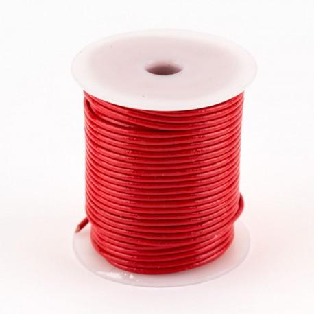 Lacet cuir buffle rond 2 mm couleur rouge