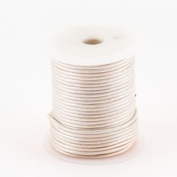 Lacet cuir rond 2 mm argent