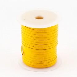 Lacet de cuir plat 3 mm jaune
