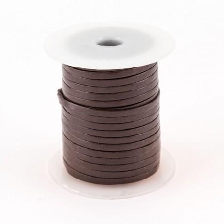 Lacet de cuir plat 3 mm brun