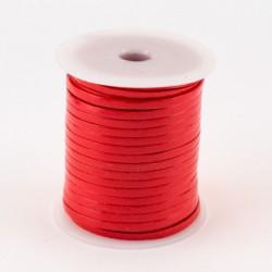 Lacet de cuir plat 3 mm rouge