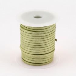 Lacet de cuir plat 3 mm vert