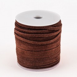 Lacet de cuir plat suédé 3 mm brun
