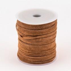 Lacet de cuir plat suédé 3 mm marron